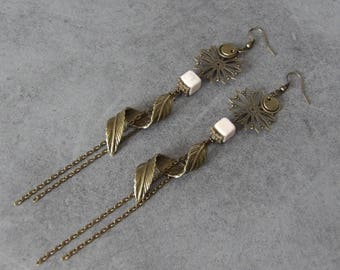 Long earrings dangle Bronze charms leaf - handmade jewelry white Howlite beads