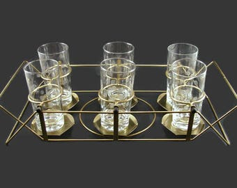6 Frosted Dot Glasses in Carrier, Clear Glass Thumbprint Tumblers in Convertible Swing Holder, Metal Server
