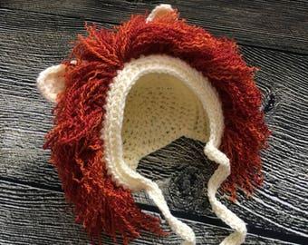 Newborn baby Lion Bonnet hat photo prop