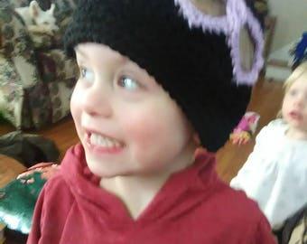 Valentine's day hat, beanie, black and purple, size 3-5, heart hat, handmade ceochet
