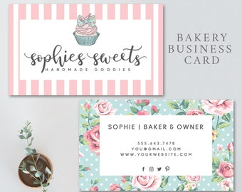 Bakery business card etsy bakery business card cupcake business card bakery logo cupcake cake bakery reheart Images