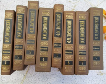 Dostoevsky 8 vol collected works famous Russian classic literature Soviet book Crime and punishment Idiot The demons Humiliated and insulted