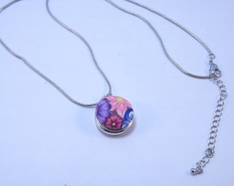 Snap Button Necklace with Handmade Colorful Mileefiori Button with FREE extra Button of Your Choice