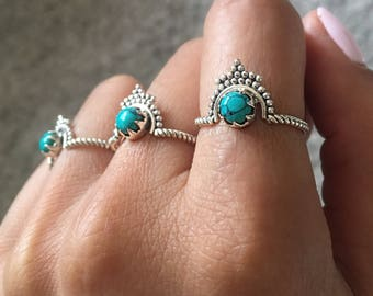 Turquoise Crown Ring | 925 Sterling silver, turquoise ring, boho ring, bohemian ring, boho ring, turquoise jewellery| Yarah Store