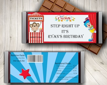 Circus Party, Candy Bar Wrapper, Circus Birthday, Carnival Party, Circus, Carnival Birthday, Circus Printables, Circus Theme, Decorations