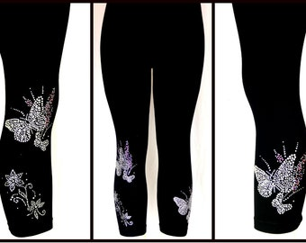 Plus Size Capri Length Leggings Embellished All Rhinestone Crystal Silver Butterfly Floral