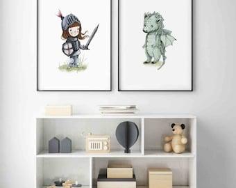 GIRL Knight print, Dragon print, Girl room decor, Nursery Decor, Kids room decor, baby shower Girl, Girl room wall art, Girl baby shower