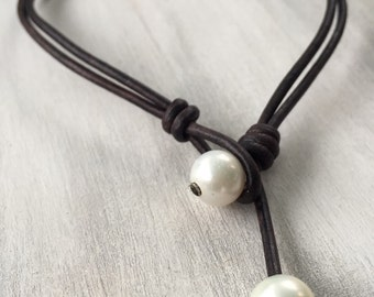 Leather pearl ankle bracelet, anklet, leather ankle bracelet, pearl ankle bracelet, beach jewelry