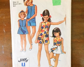 Vintage Sewing Pattern Simplicity 8769 Girl's Pantdress Romper Reversible Wrap Skirt Top 1960s  Size 10 28.5