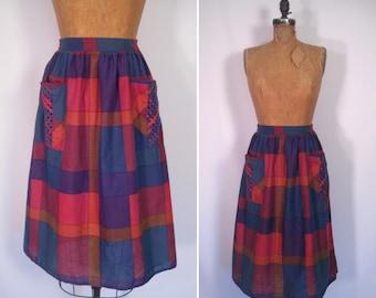 1970s madras plaid print skirt • 70s high waist skirt with oversized pockets • vintage Byer California summer skirt skirt