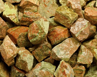 Fantasia Materials: 1 lb Unakite Rough from India - Raw Natural Crystals for Tumbling, Wrapping, Polishing, Reiki and More!