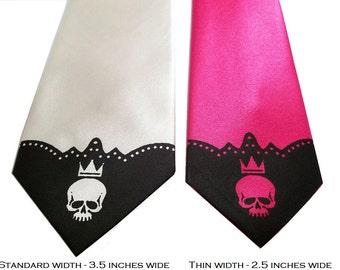 RokGear Skull necktie print men standard or narrow width print to order skull tie by RokGear