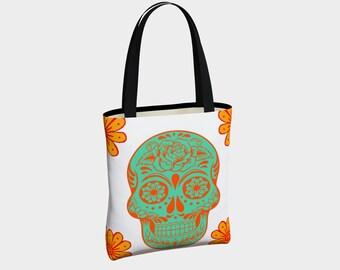 Sugar Skull Canvas Tote Bag, Dia de los Muertos Tote, Shoulder Bag, Tote Bag, Tote with Pockets, Fashion Tote Bag, Everyday Tote Bag