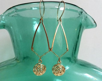 Gold Spiral Dome Earrings Labyrinth Earrings Gold Drop Earrings Disc Earrings 14k Gold Fill Dangles Swirl Earring Wire Jewelry V Earring