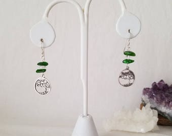 Sterling Silver Tree Of Life Charm Earrings With Chrome Diopside And Crystal Quartz