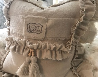 """One """"LOVE"""" 20/20 in ruffled pillow slip/ natural canvas/shabby chic/"""