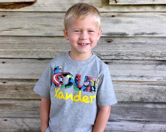 Super Hero Birthday Shirt with Name and Age