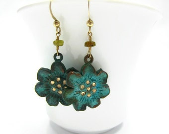 Verdigris Earrings Verdigris Flower Earring Sakura Blossom Earring Cherry Blossom Earring Swarovski Crystals Drop Earring Summer Trends Gift