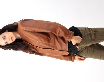 80s Brown Leather Jacket / Crop Leather Jacket / Cropped Jacket / Women Leather Jacket  / Size Plus Jacket / Size L /