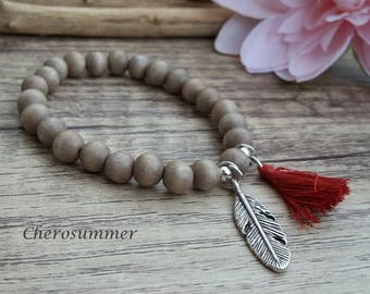 Bohemian Bracelet wood Feather light brown