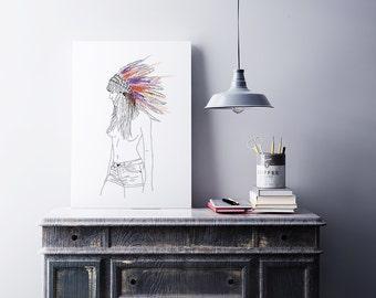 Affiche femme, sexy, mode, coiffe indienne, plume, hippie, boho, sauvage, aventure, nu, impression