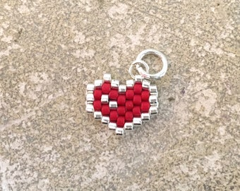 Woven heart pendant - red and silver beads