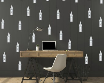 FREE SHIPPING Wall Decal Gray Houses. 72 Wall Decal. Nursery Decal.  Vinyl Wall Decal. Kids Wall Decal.Children Decal. Housewares.