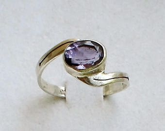 Amethyst ring  Sterling silver Art Deco Engagement ring