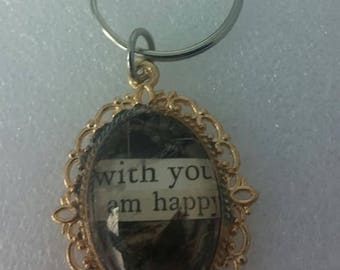 "Handmade  KC Plated Gold Oval Key Chain Pendant with Up cycled Book Poetry ""With You I Am Happy"""