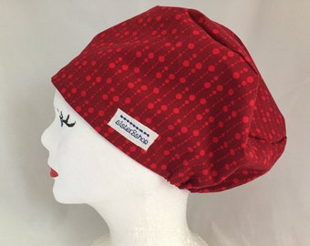 Rae Tech Scrub Hat Pixie Pull On, Red Designer Michael Miller