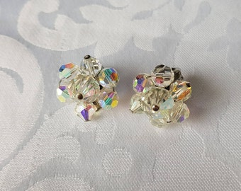 Vintage Aurora Borealis Crystal Clip On Earrings, Crystal Clip On Earrings, Earrings, AB Earrings