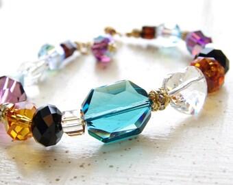 Swarovski Crystal Jewelry Beaded Bracelet Crystal Heart Teal Black Purple Gold Swarovski Crystal Bracelet Colorful Handmade Jewelry