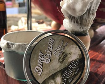 The Old Fashioned Shave Set - Boar Bristle Brush, Natural Shave Soap, Travel Tin, Wet Shave Kit, Travel Shave Kit, Gift for Him