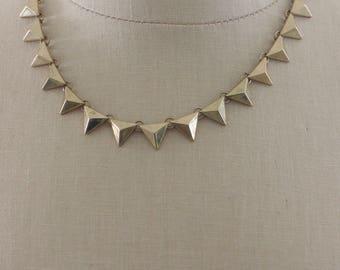 Art Deco Necklace - Vintage Inspired Necklace - Brass Necklace - Chevron Necklace - Bib Necklace - OOAK Necklace - Boho Necklace - handmade