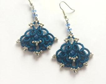 Electric Blue lace earrings, Dangle Earrings, Statement Earrings, Vintage Style earrings, Tatted lace earrings, Tatting lace frivolite, Gift
