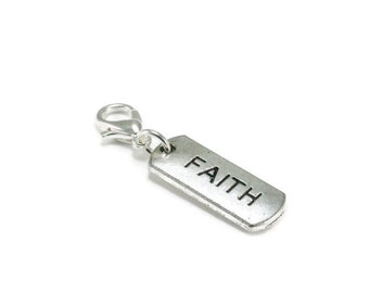 SALE Faith Word Zipper Pull Purse Charm Silver Clip On Charms Inspirational