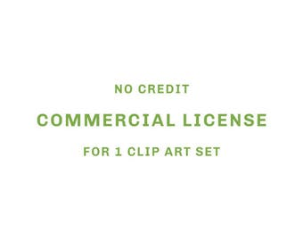 No Credit Commercial License For 1 Clip Art Set.