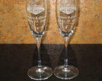 Las Vegas Wedding Toasting Glass