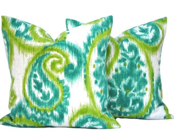 Two Ikat pillow covers, cushion, decorative throw pillow, Teal pillow, accent pillow, Lime pillow, pillow case