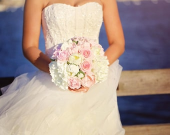 Sweet and dreamy pink and cream/white real touch peony and real touch rose bridal bouquet