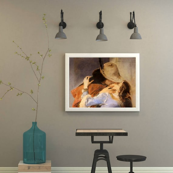 """Hand painted, Custom art, pencil drawing on paper-reproduction of famous paintings (""""The Kiss"""" by Francesco Hayez)"""