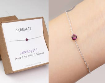 Birthstone jewelry, birthstone bracelet, February birthstone, amethyst bracelet, birthday gift, silver plated, birthstone gift, gift for her