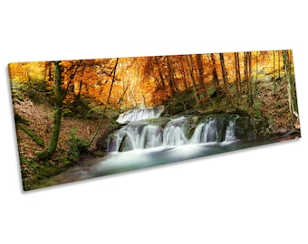 Woodland Forest River Landscape CANVAS WALL ART Panoramic Framed Print