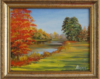 "Oil painting ""Golden fall"", framed, ready to hang"