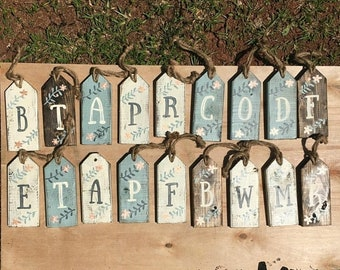CLEARANCE Tags, wood door tags, spring rustic decor, initial door tags, wooden door tags, spring decor, farmhouse decor, monogrammed doo