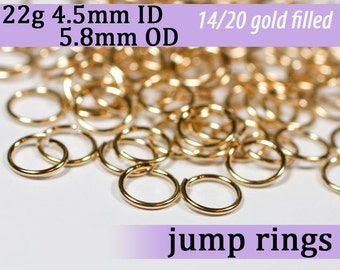 22g 4.5mm ID 5.8mm OD gold filled jump rings -- 22g4.50 goldfill jumprings 14k goldfilled