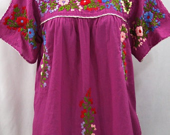 "Mexican Peasant Top Blouse Hand Embroidered: ""Lijera"" Fuchsia + Multi Color Embroidery ~ Size MEDIUM"