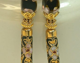 Vintage Chinese Champleve' Cloisonne Gold Black Bead Earrings,Vintage Cathedral Pink Givre Glass,Bali 24K Gold Vermeil Bead