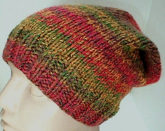 Slouchy hat, green gold orange brown tweed, striped hat, knit hat, toque, winter hat, mens womens hat, chemo cap, ski snowboard, skateboard