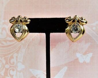Vintage 1980s Sparkling Rhinestone Gold Tone Pierced Earrings